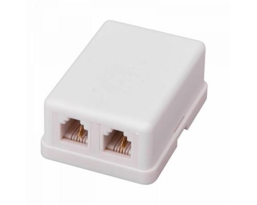Розетка телефонная ProConnect 2 гн. RJ-11(6P-2C), внешняя