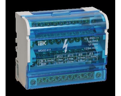 Шина ИЭК на DIN-рейку в корпусе (кросс-модуль) ШНК 4х11 3L+PEN