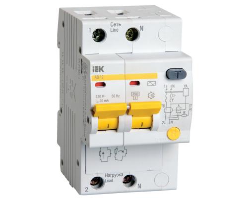 Дифференциальный автомат IEK АД12 2Р С10А 30мА тип АС