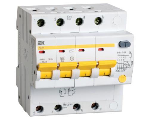 Дифференциальный автоматический выключатель IEK АД14 16А, 30мА, 4Р